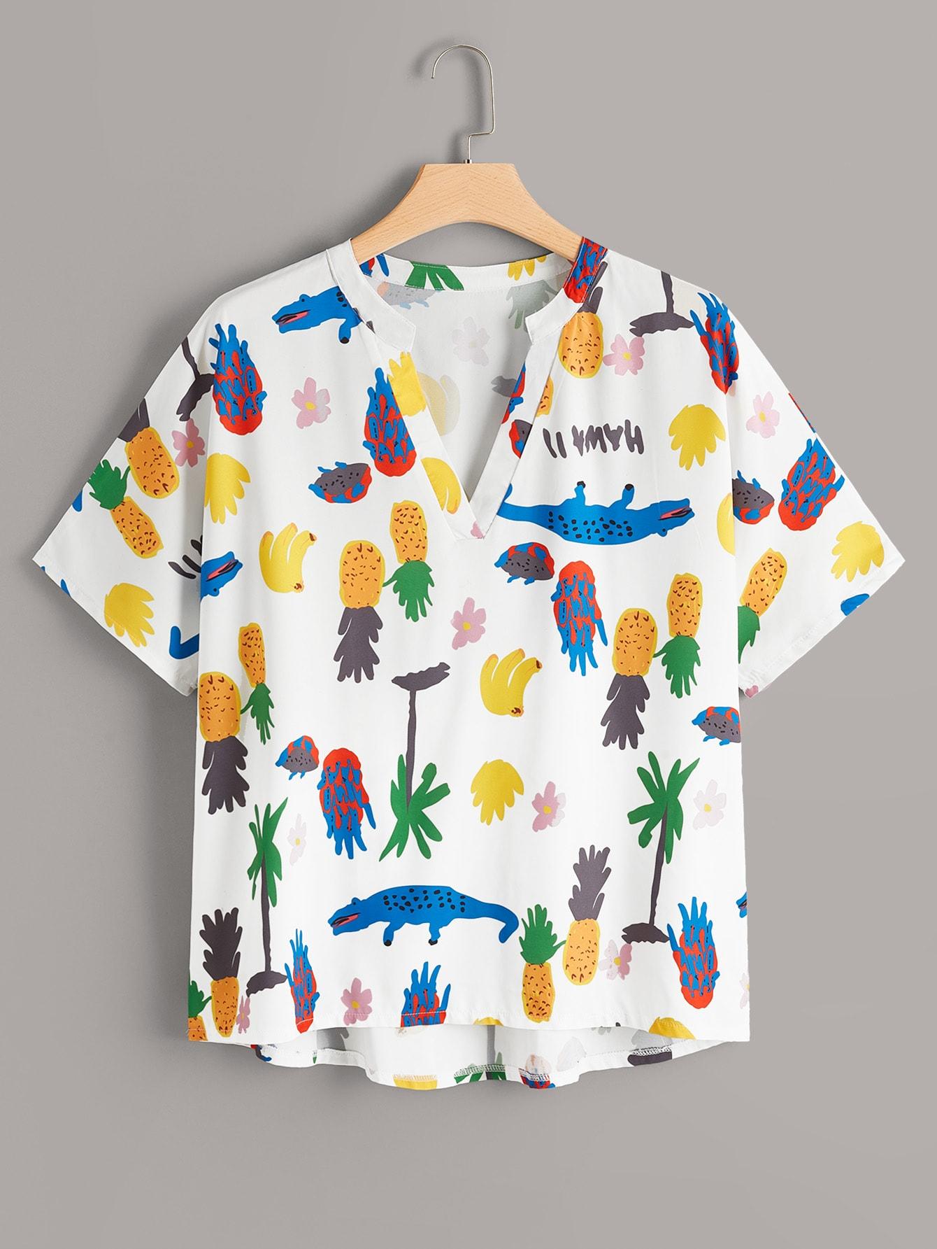 Фото - Асимметричная блузка размера плюс с оригинальным принтом от SheIn цвет многихцветные