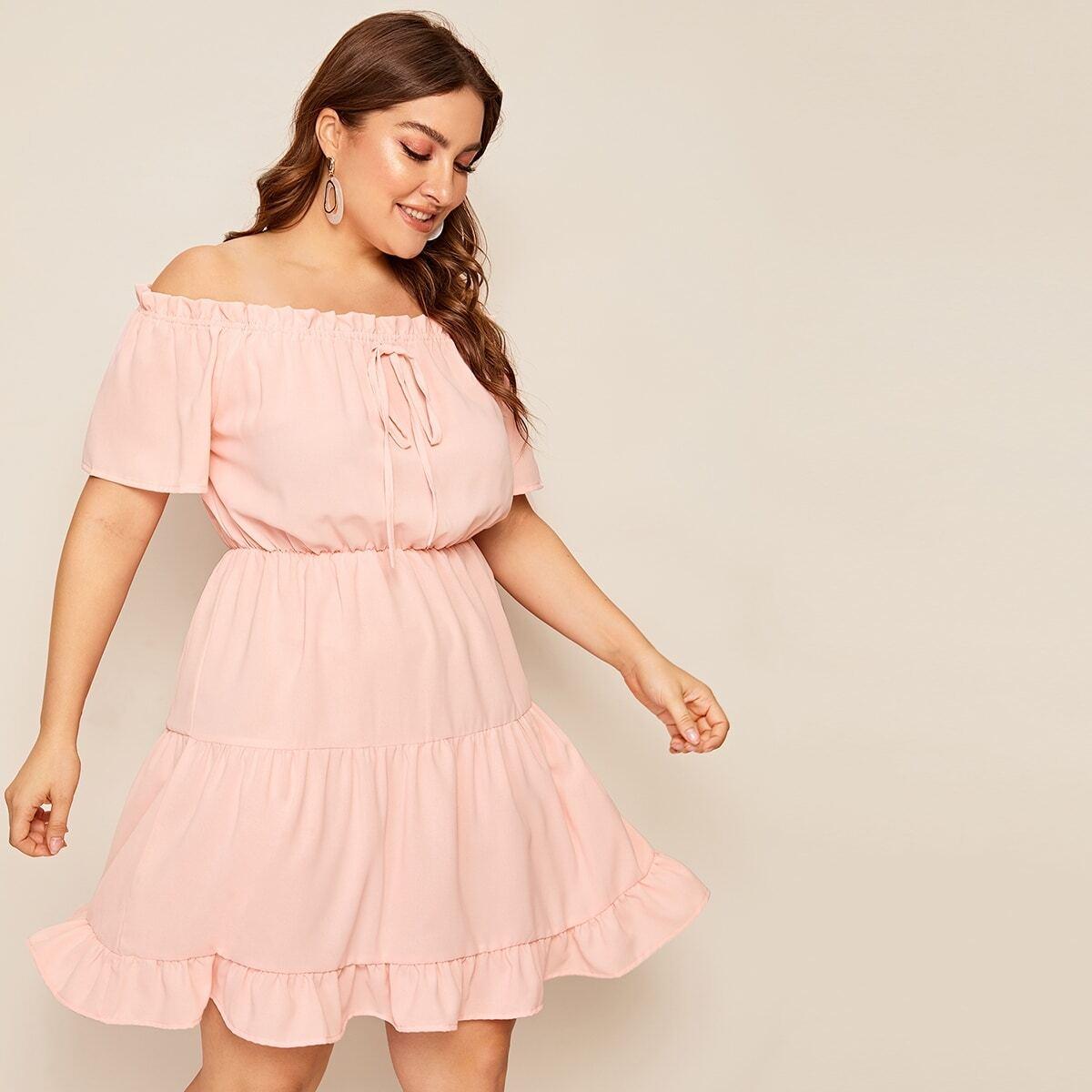 Roze  Boho Vlak Grote maten jurken Geribd