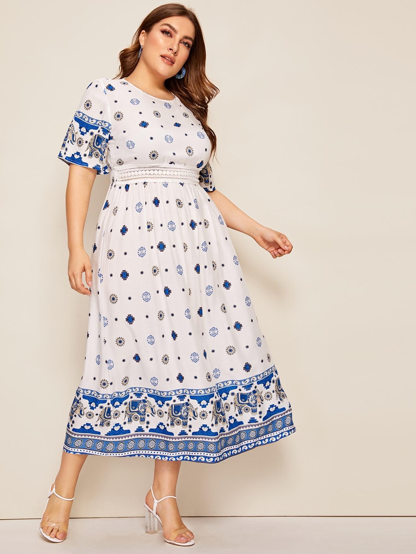 Фото - Платье с племенным принтом и кружевом размера плюс от SheIn цвет белые