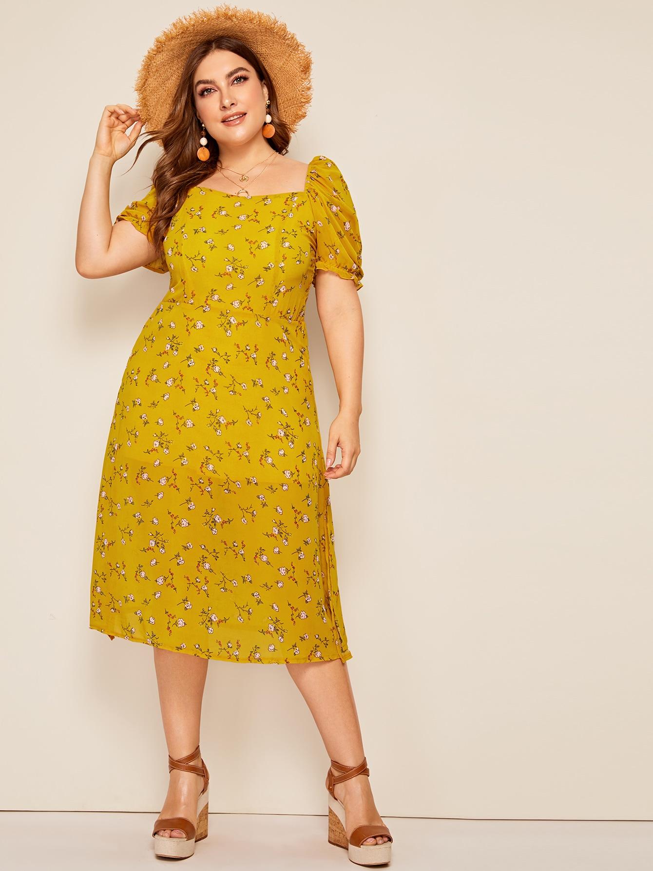 Цветочное платье с квадратным вырезом и разрезом размера плюс