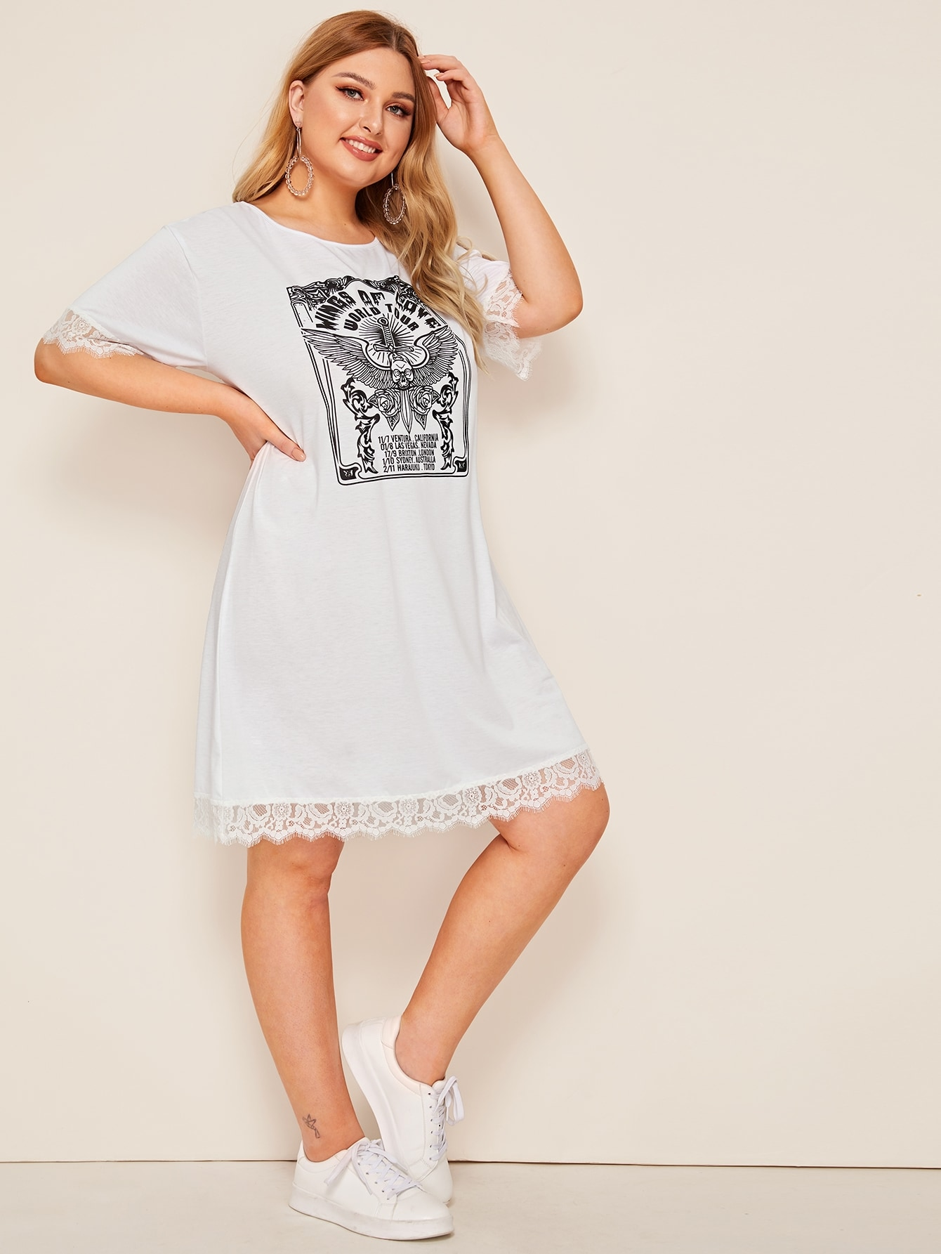 Фото - Платье с текстовым принтом и кружевом размера плюс от SheIn цвет белые
