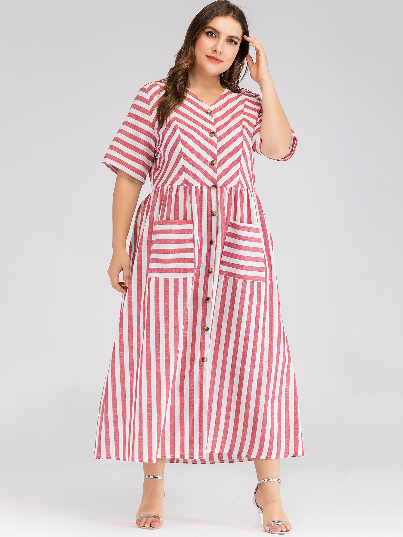 Фото - Платье-рубашка в полоску с карманом размера плюс от SheIn цвет многихцветные