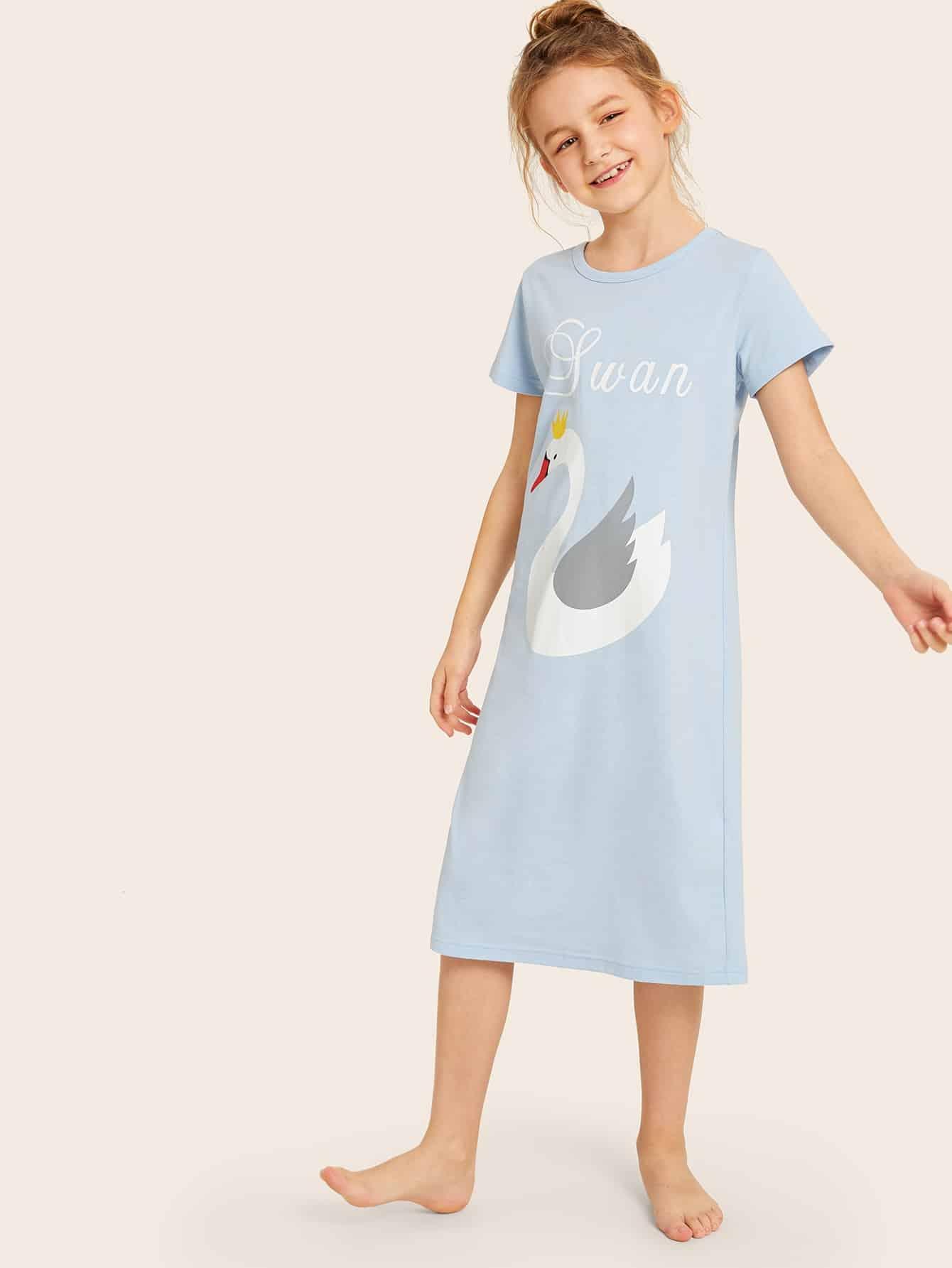 Фото - Ночная рубашка с текстовым и оригинальным принтом для девочек от SheIn цвет синие