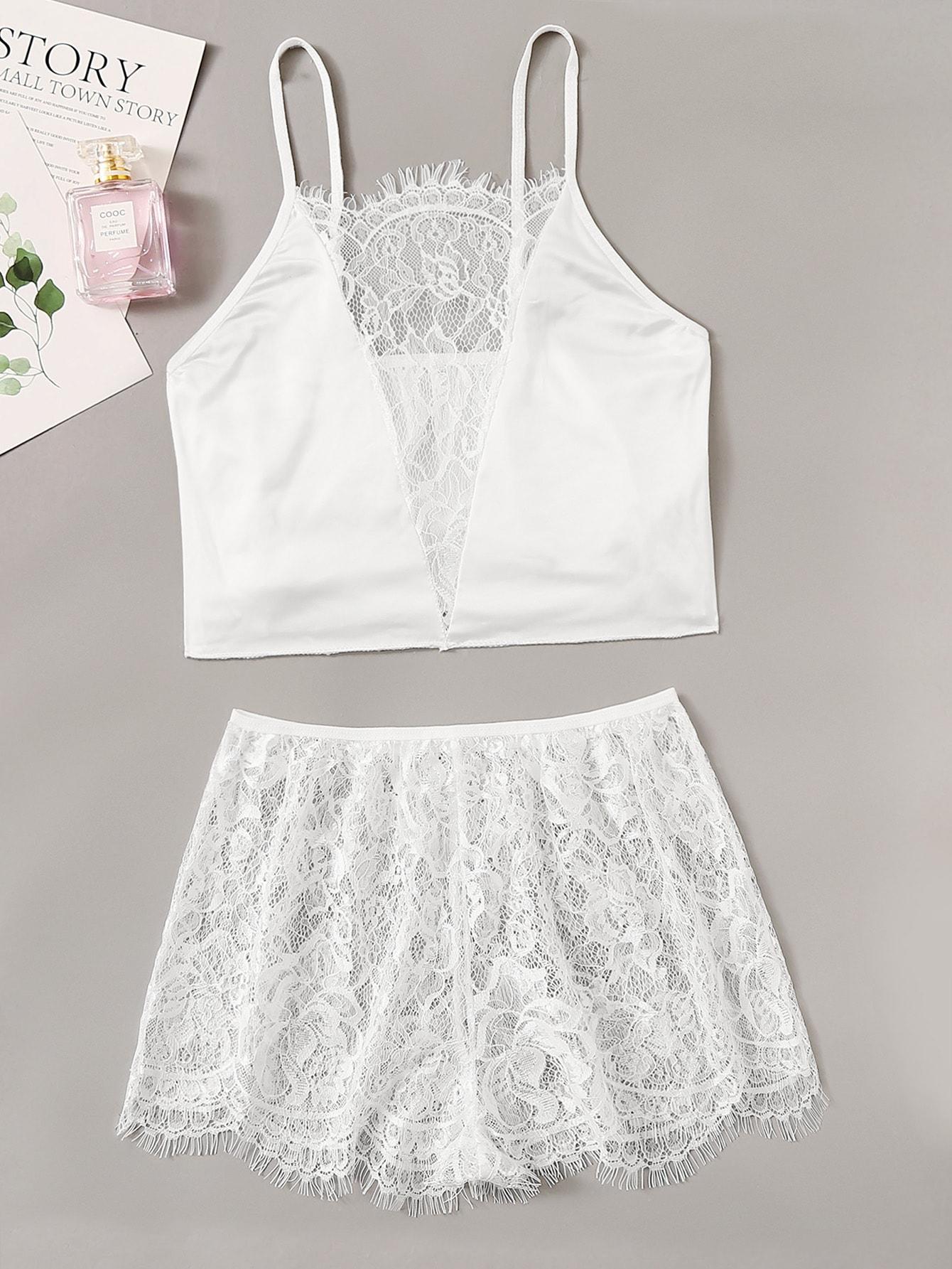 Фото - Атласная комплект нижнего женского белья с кружевом от SheIn белого цвета