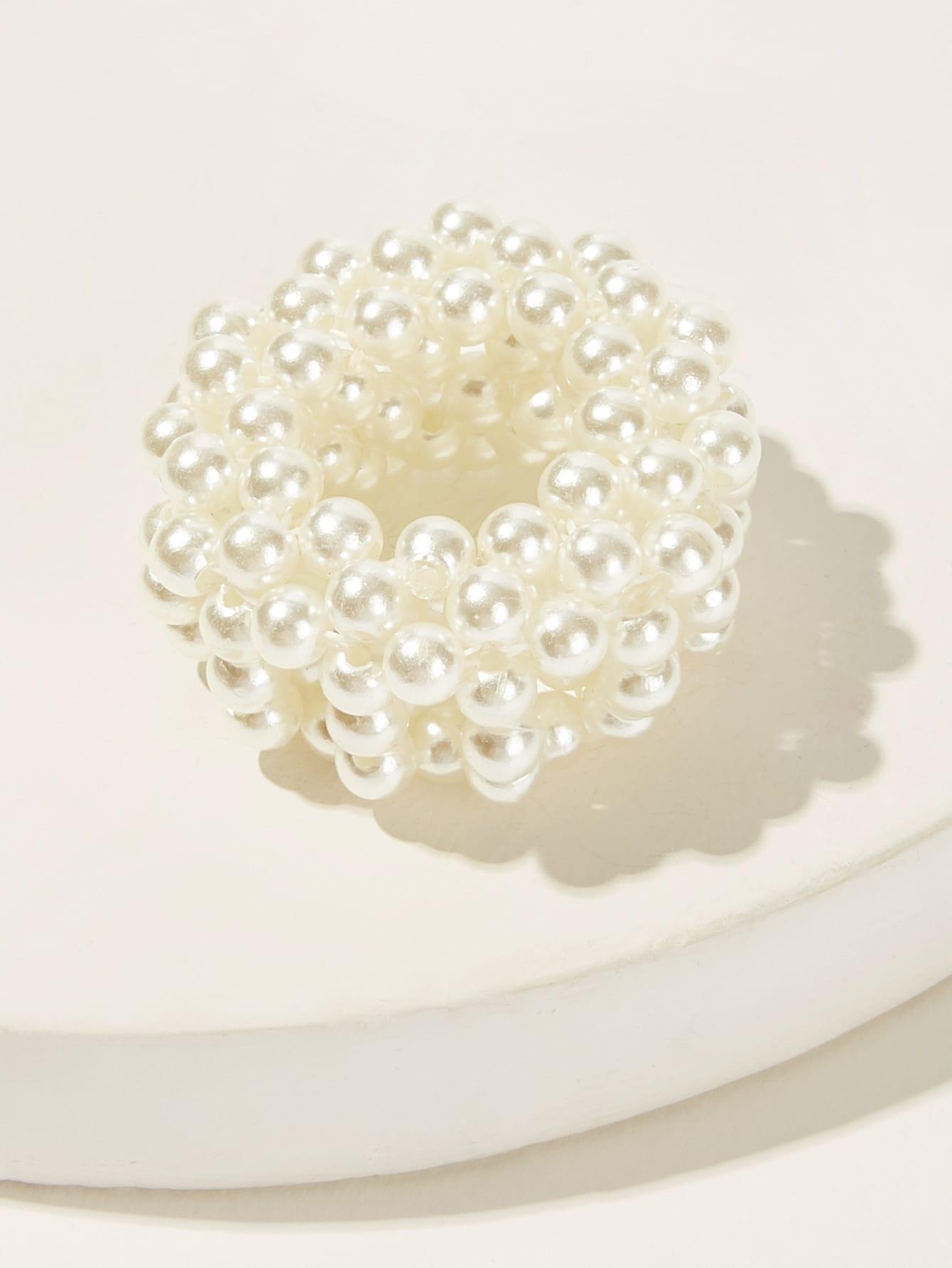 Фото - Аксессуар для волос из искусственного жемчуга от SheIn белого цвета