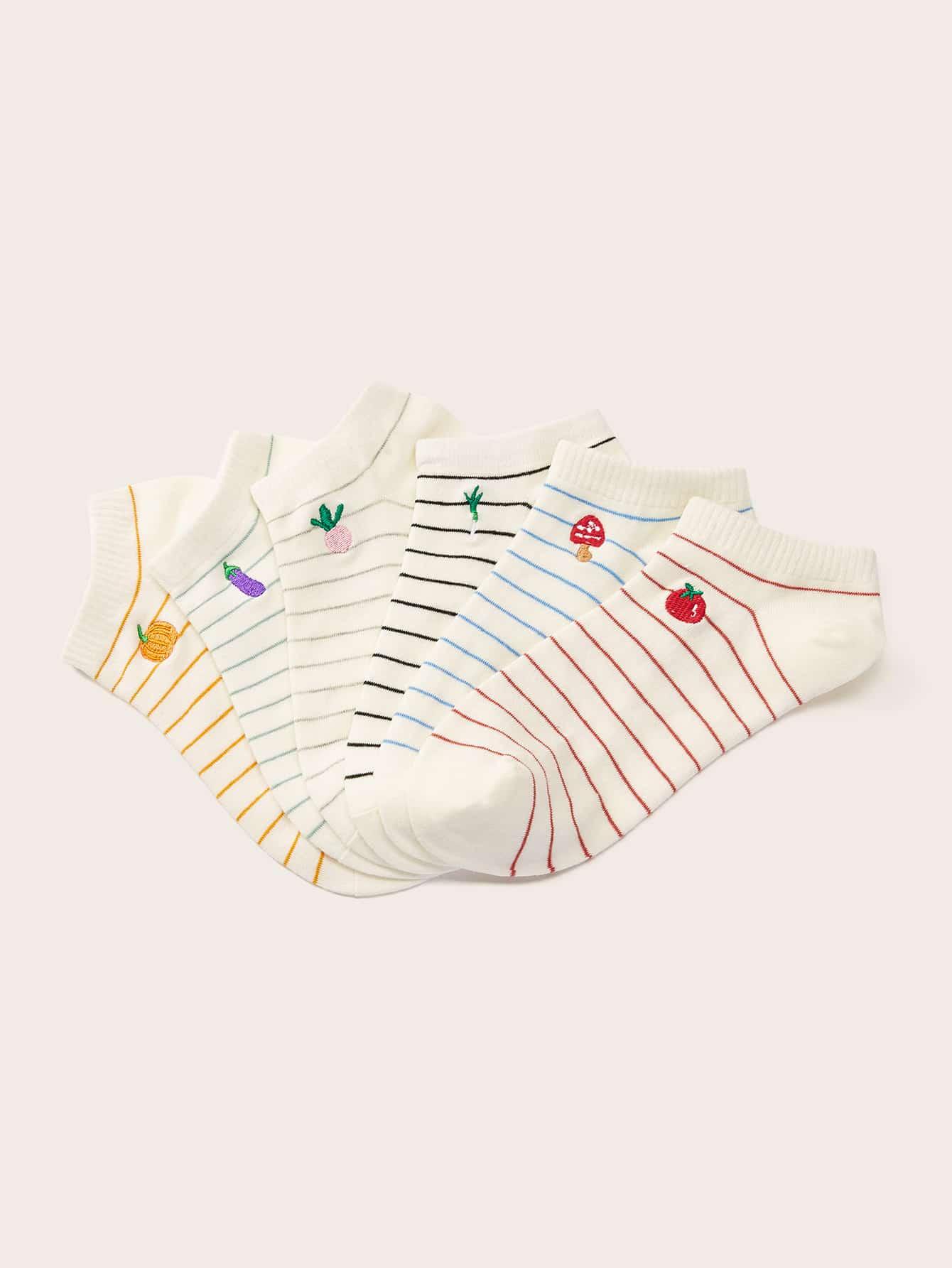 Фото - Овощи вышивка полосатые носки лодыжки 6 пар от SheIn цвет многоцветный