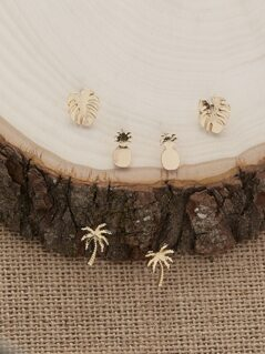 Three Tropical Fruits And Trees Stud Earrings
