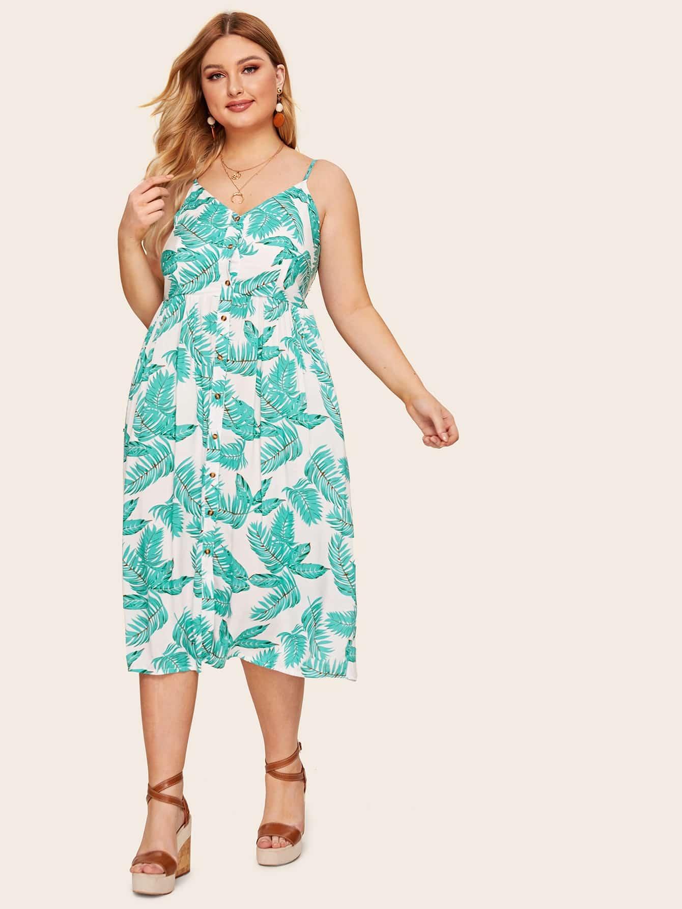 Фото - Платье с пуговицами и оригинальным принтом от SheIn цвет многихцветные