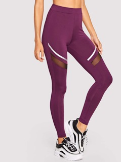 Mesh Insert Satin Tape Patched Leggings