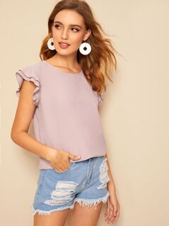 Layered Ruffle Armhole Top