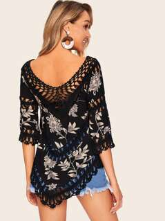 Floral Print Crochet Insert Cover Up