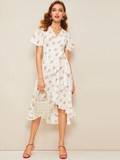 Floral Print Ruffle Hem Wrap Knotted Dress
