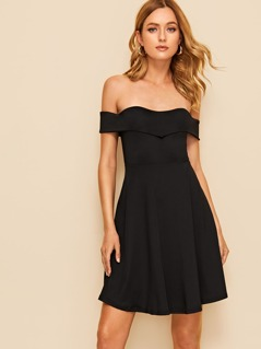 Foldover Front Sweetheart Neck Bardot Dress