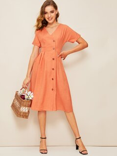 50s Button Front Pleated Wrap Dress