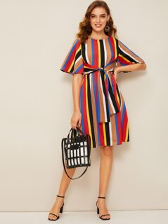 Bell Sleeve Tie Waist Striped Dress