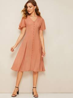 60s Flutter Sleeve Button Up Pleated Dress