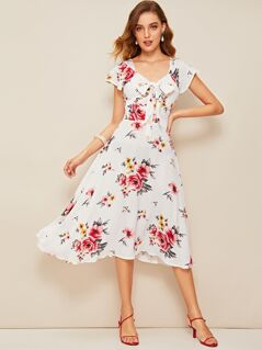 40s Tie Neck Flutter Sleeve Floral Sweetheart Dress