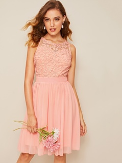 Guipure Lace Overlay Bodice Solid Dress