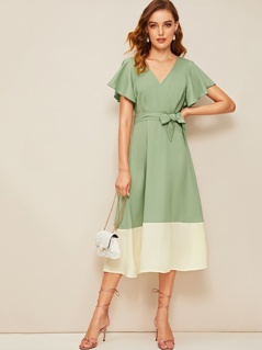 Flutter Sleeve Two Tone Surplice Wrap Dress