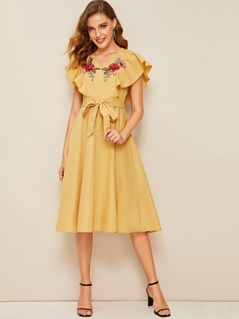 Ruffle Armhole Floral Embroidered Self Belted Dress