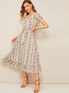 Allover Floral Print Ruffle Cuff and Hem Dress