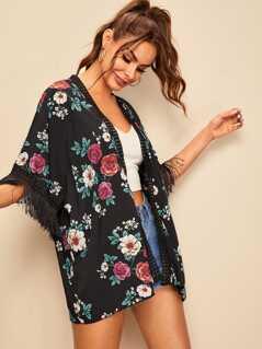Random Floral Fringe Cuff Kimono