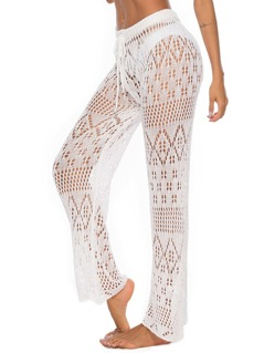 Drawstring Waist Crochet Sheer Pants Without Panty