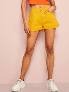 5 Pockets Yellow Wash Cuffed Denim Shorts