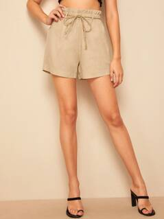 Paperbag Waist Self Belted Shorts