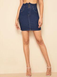 Notch High Waist Contrast Stitch Denim Skirt