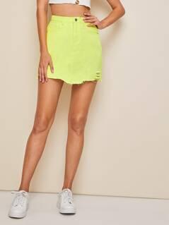 Neon Yellow Ripped Raw Hem Denim Skirt