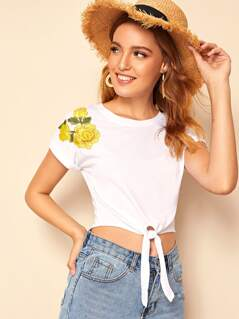 Embroidered Floral Applique Knot Hem Crop Top