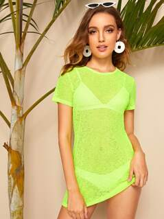 Neon Lime Sheer Cover Up Without Lingerie Set