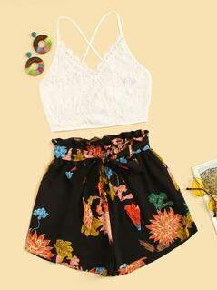 Lace-up Back Guipure Lace Top and Paperbag Waist Shorts Set
