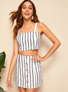 Striped Crop Top and Button Up Skirt Set