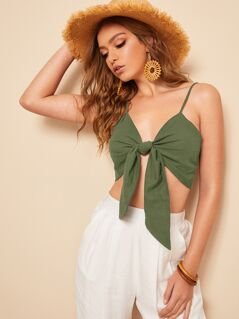 Knot Front Crop Cami Top