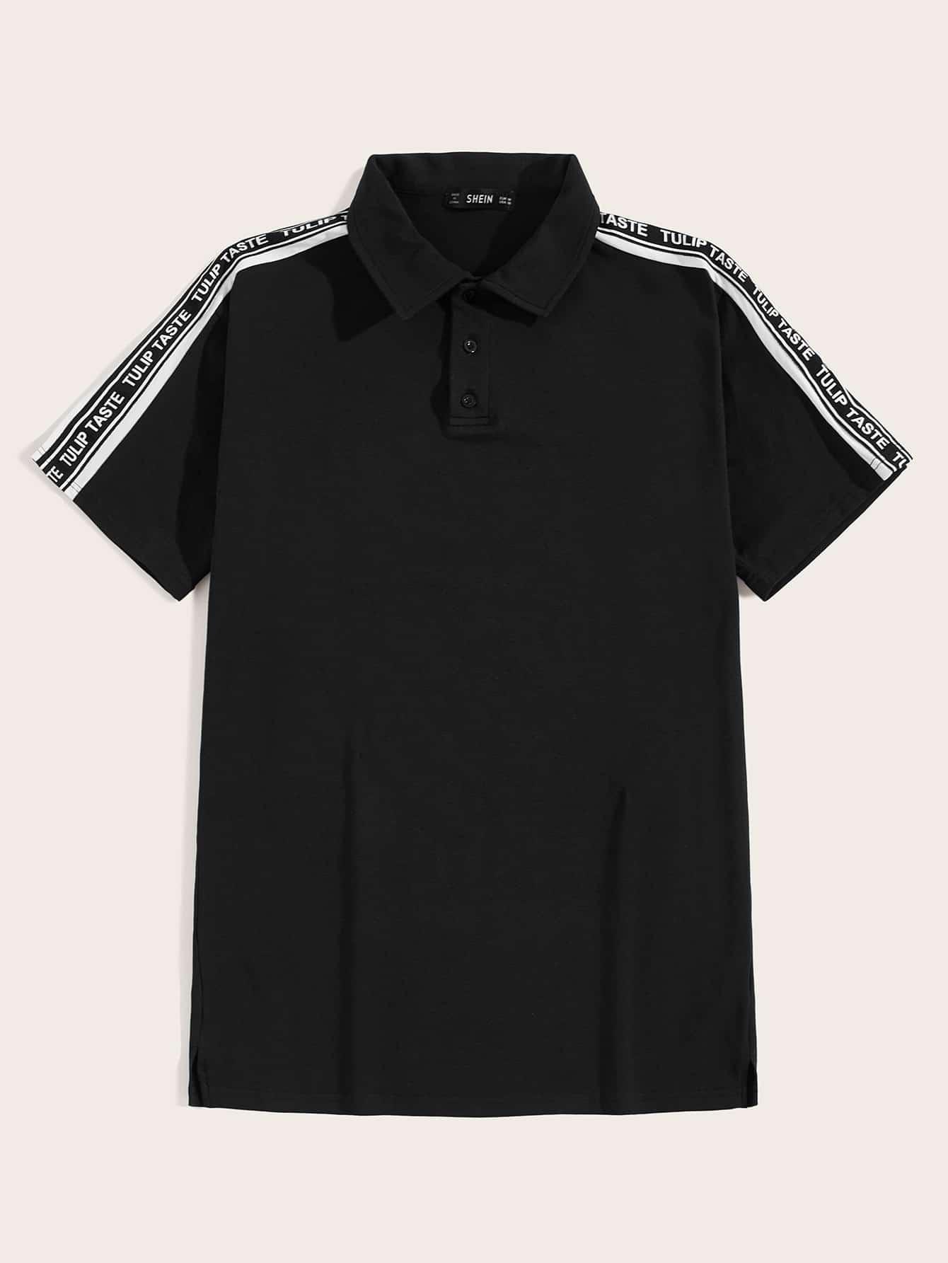 Фото - Мужская рубашка-поло с текстовой лентой от SheIn черного цвета