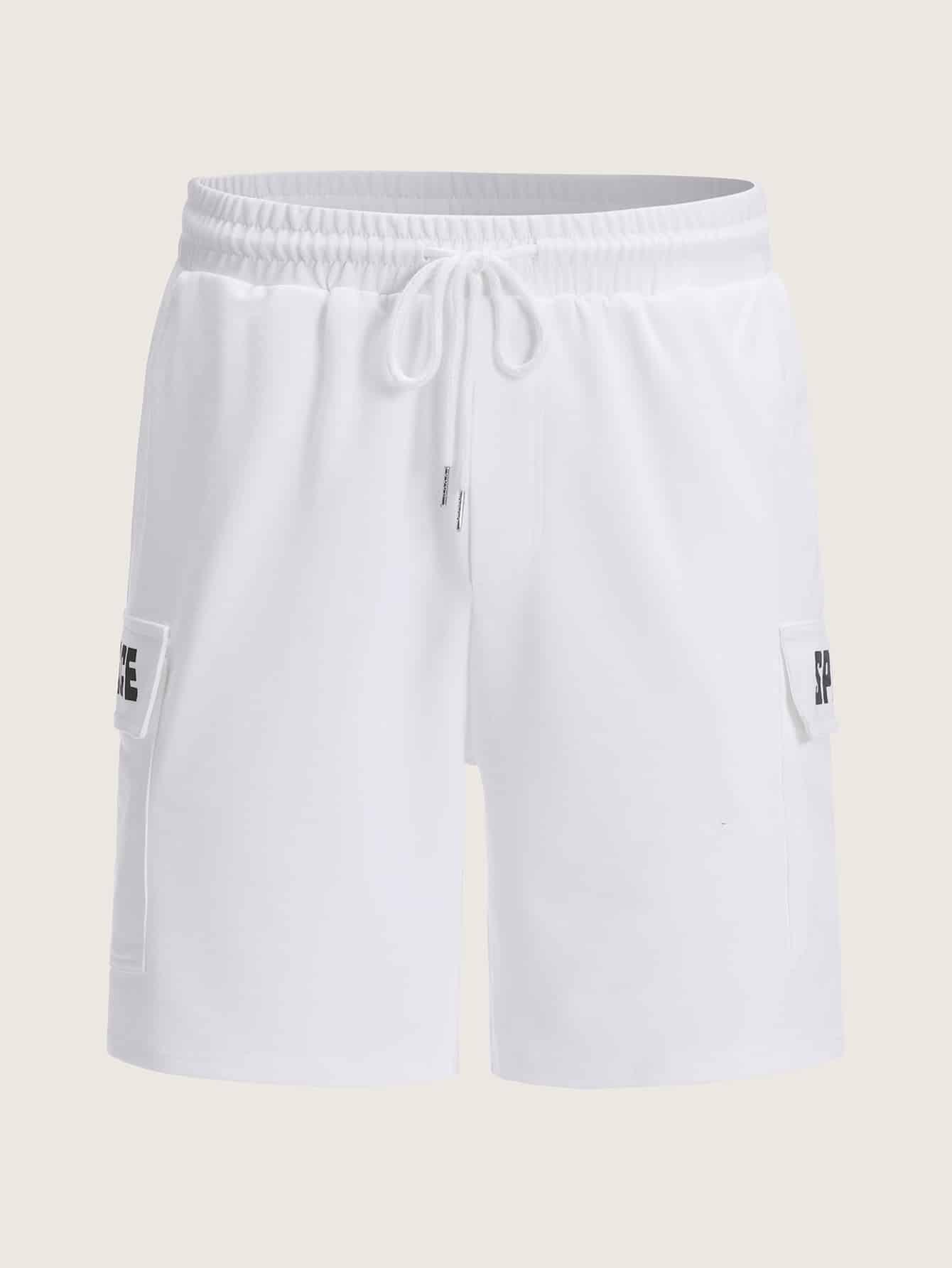 Фото - Мужские шорты с текстовым принтом от SheIn белого цвета