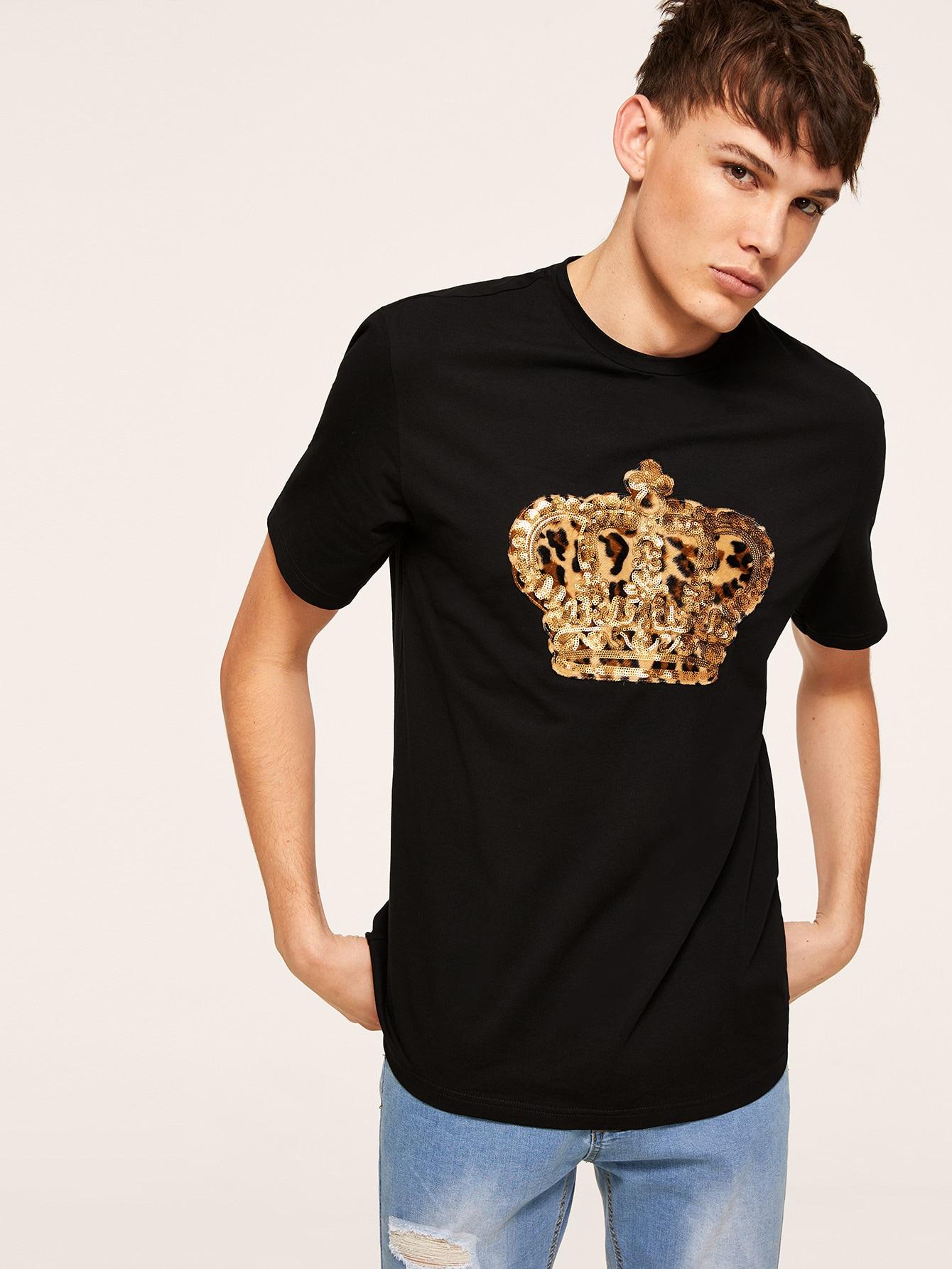 Фото - Мужская леопардовая футболка с блестками от SheIn черного цвета