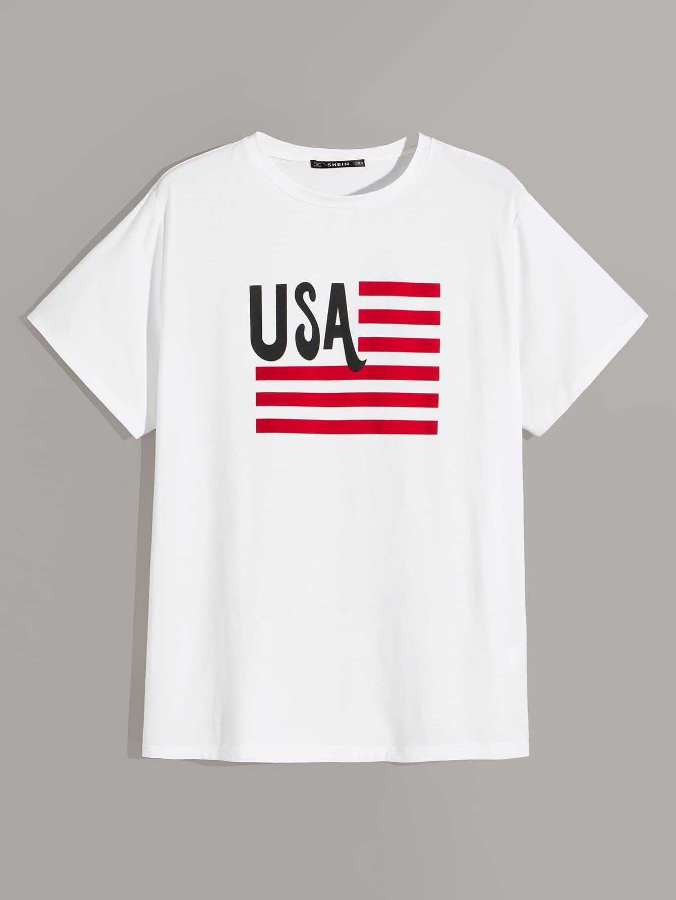 Фото - Мужская футболка с текстовым принтом и полосками от SheIn белого цвета