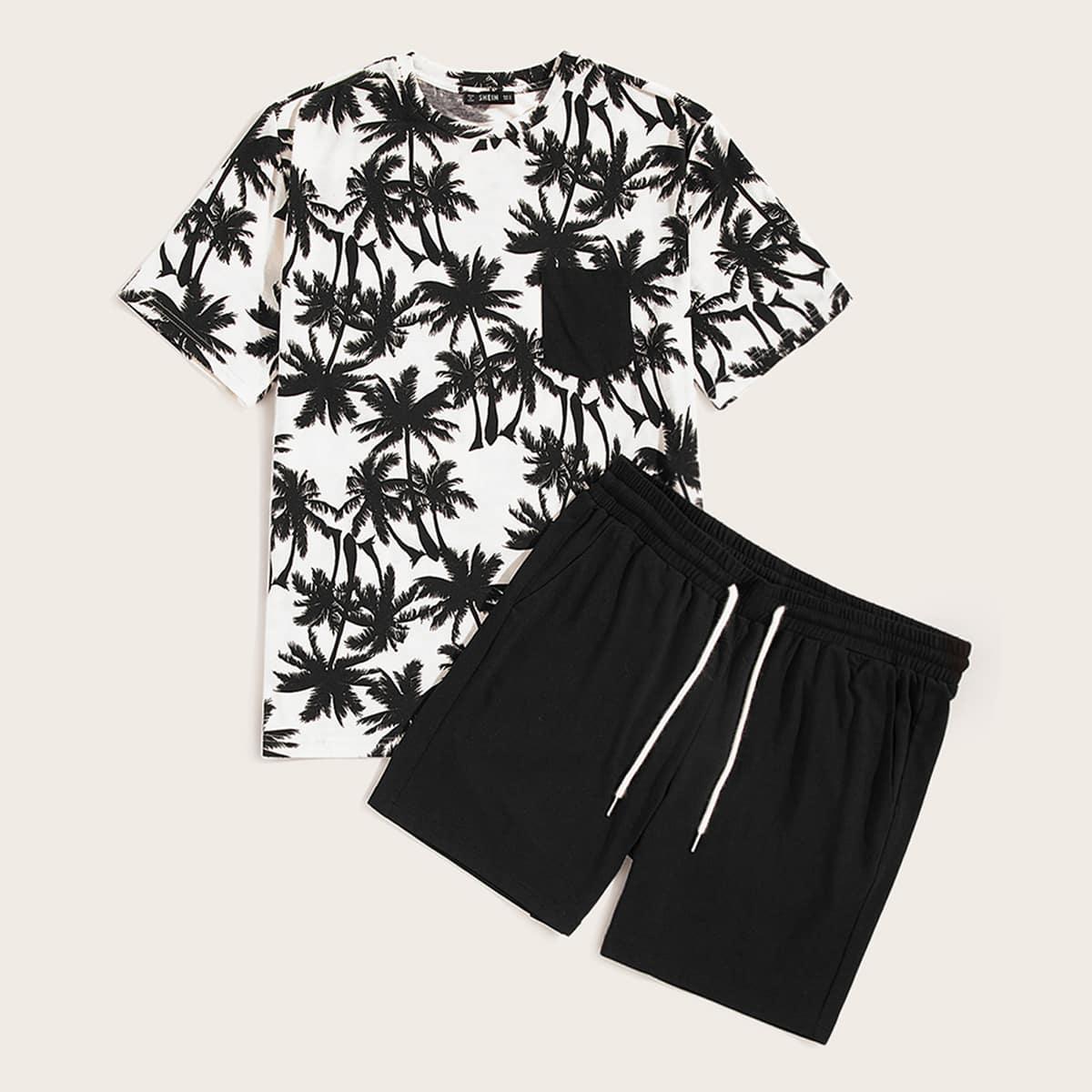 Мужские шорты и футболка с графическим принтом от SHEIN