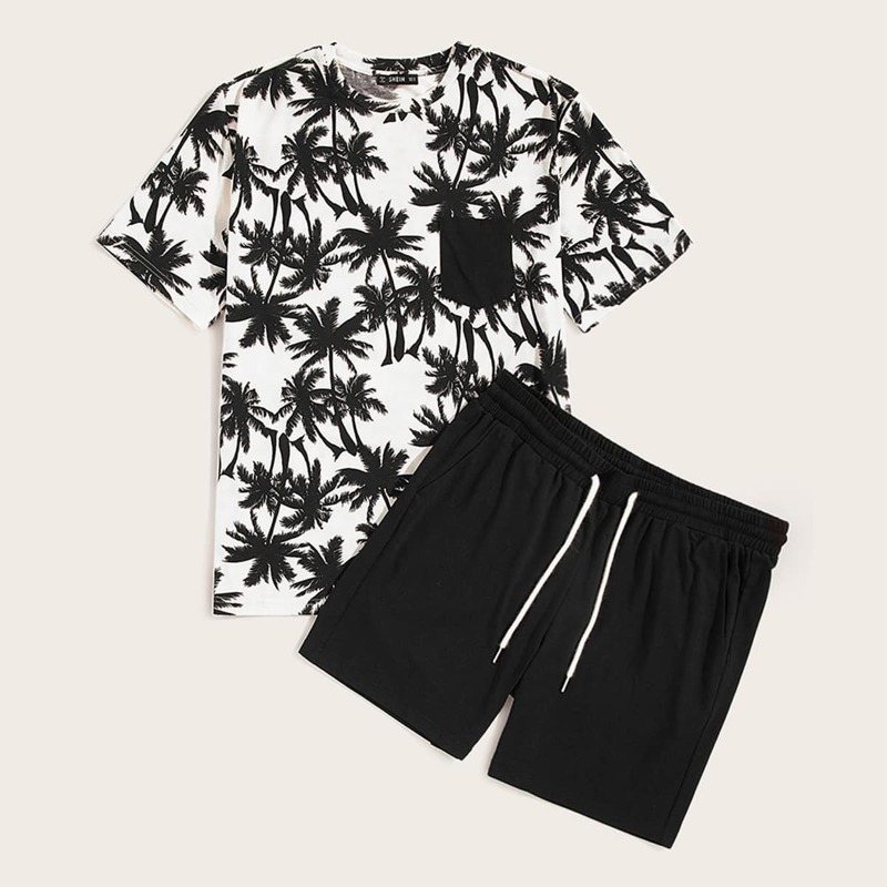 Guys Pocket Patch Coconut Tree Tee & Shorts Set, Black and white