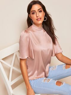 Mock-neck Flutter Sleeve Satin Top