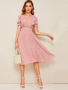 Ruffle Trim Puff Sleeve Shirred Waist Dress