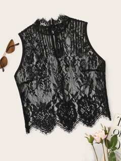 Mock Neck Sheer Lace Overlay Top