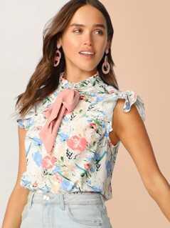 Tie Frilled Neckline Floral Print Top