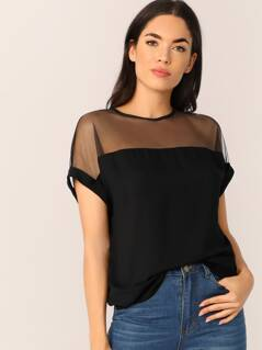 Mesh Yoke Tunic Top