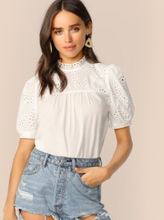 Keyhole Back Mock-neck Eyelet Embroidered Top