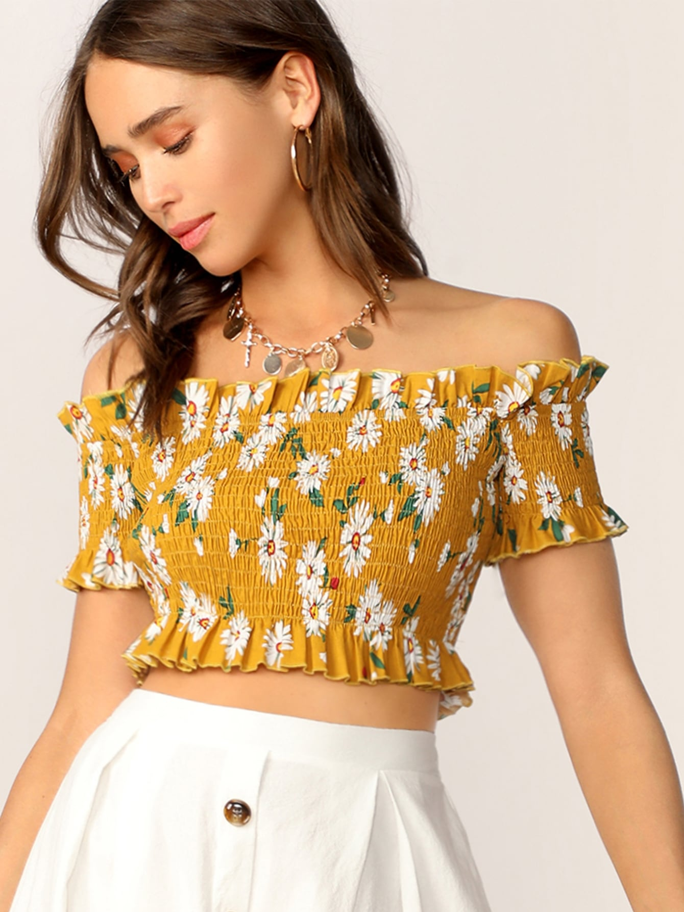 c06940e270ee9 Off Shoulder Frill Trim Shirred Crop Blouse
