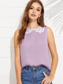 Contrast Daisy Lace Collar Shell Top